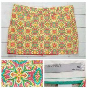Old Navy 16 Coral Yellow Moroccan Tile Mini Skirt